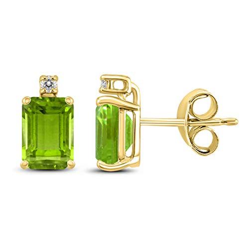 Cut Earring 7x5mm Emerald Peridot (14K Yellow Gold 7x5MM Emerald Shaped Peridot and Diamond Earrings)