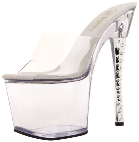 Pleaser DIAMOND-701 DIA701 Damen Sandaletten, Klar/Klar, US 8