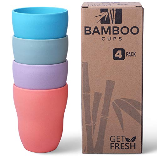 Get Fresh Bamboo Cups 4 Pack, Bamboo Drinkware, Bamboo Fiber Tumblers, Non-toxic Bamboo Dinnerware, Eco-Friendly Dinnerware Set, BPA Free (Multiple Colours), Bamboo Mugs Set