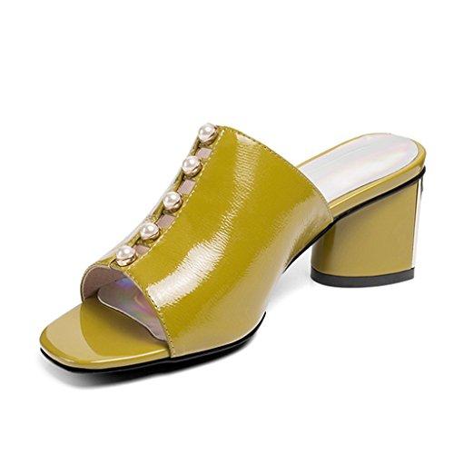 Chaussures Yellow Ouvert Talons Lemon Pantoufles Été À Rugueux À Chaussures Femme Mode Talons Strass Décontractées Chaussures Sandales Bout 1dwqpqF