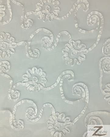 """50/""""//52/"""" WIDTH SOLD BY THE YARD DRESS Ivory RIBBON CRYSTAL ORGANZA FABRIC"""