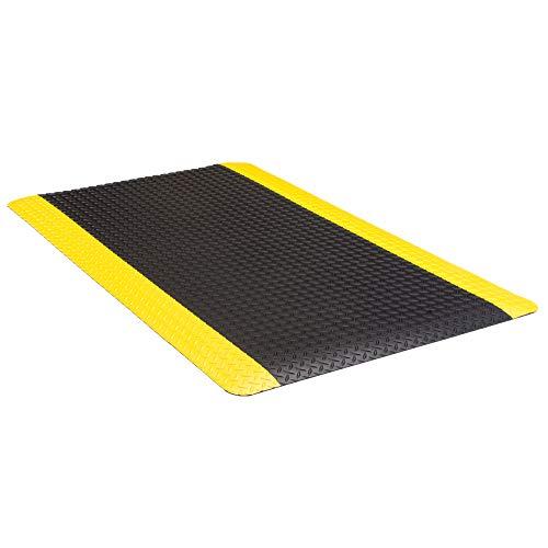"AmazonBasics Anti-Fatigue Mat Diamond Deckplate Composite Mat 11/16"" Thick 3x10 Black/Yellow"