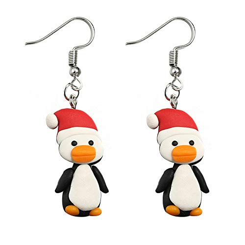 (Bluelans Christmas Decorations, Cartoon Santa Claus Penguin Pattern Hook Earrings Women Jewelry Xmas Gifts Xmas Stocking Fillers)