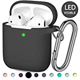 Hamile Apple Airpod Case, [Front LED Visible] Silicone Case Shockproof Protective Case for Apple AirPods 2 & 1 Wireless Charging Case, with Keychain, Men Boys (Black)