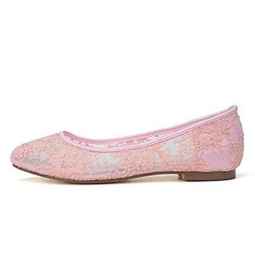 L@YC Zapatos De Boda Para Mujer # 9872-20 Confort Y Encaje Plano De Noche De Plata Dorada En 1 # Pink