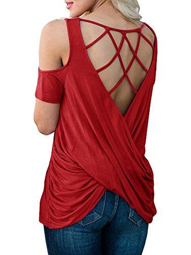 FISACE Women Back Cross Knot Cold Shoulder Backless Knit Loose Wrap Blouse T-Shirt