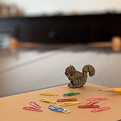 JIGZLE Squirrel Paper 3D Puzzle - Laser Cut Miniature Animal Craft Kit for Kids and Adults - Birthday Gift and Party Favor for Puzzle and Origami Paper Craft Enthusiasts: Toys & Games