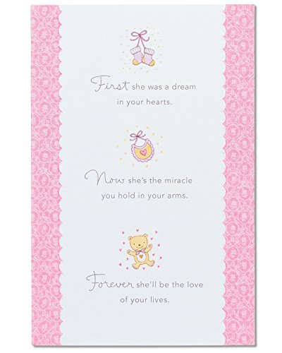 American Greetings Love of Your Lives New Baby Girl Congratulations Card with Glitter