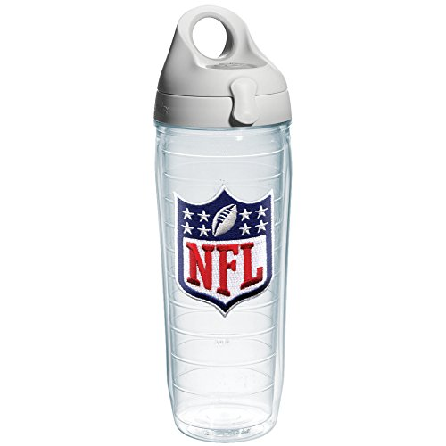 Tervis NFL Logo Shield Emblem Individual Water Bottle with Gray Lid, 24 oz, Clear