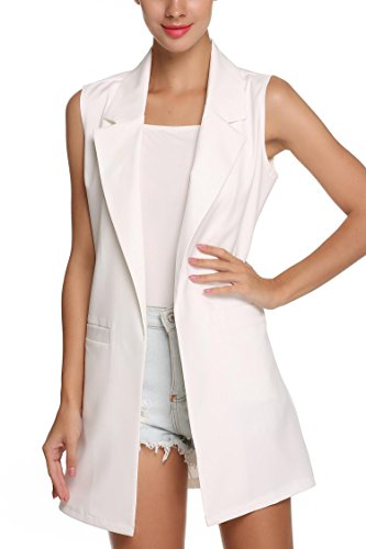 Front Waistcoat - Opino Womens Sleeveless Lapel Pocket White Long Waistcoat Outwear Top XL