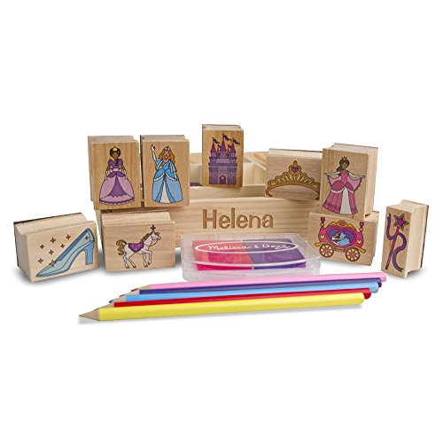 Melissa & Doug Personalized Wooden Princess Stamp Set Includes 9 Stamps/5 Colored Pencils/2-Color Stamp Pad
