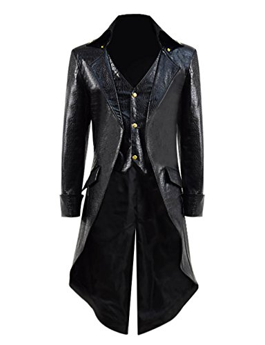 Qipao Mens Gothic Tailcoat Jacket Steampunk Victorian Coat Halloween Cosplay Costume Party Uniform