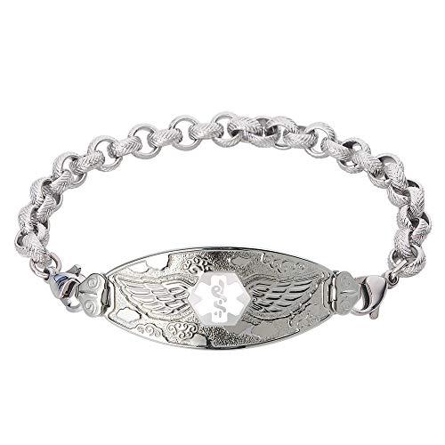 Divoti Custom Engraved Medical Alert Bracelets for Women, Stainless Steel Medical Bracelet, Medical ID Bracelet w/Free Engraving - Angel Wing Tag w/Textured Rolo - Textured Bracelet Steel Stainless