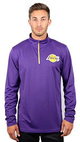 NBA Los Angeles Lakers Men's Quarter Zip Pullover Shirt Athletic Quick Dry Tee, Large, Purple