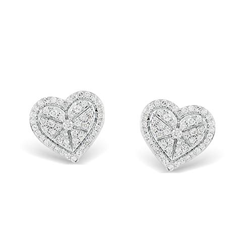 Large Heart Earrings Studded (These diamond studded heart earrings are everything! Crafted in sterling silver, it's just the right amount of romance!)