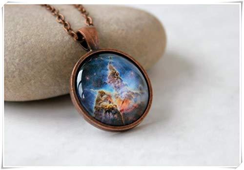 Goodnight cat Star Birth Pendant in Antique Copper, Carina Nebula Necklace, Star Jewelry,Antique Copper Pendant,Glass Cabochon Pendant with Chain