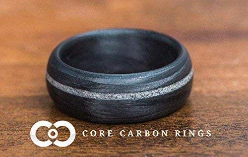 Men's or Women's 100% Carbon Fiber Ring with diamond inlay- Handcrafted -Lightweight - Black Band - Custom Band widths