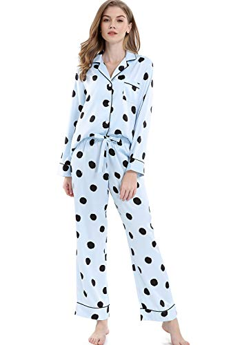 Serenedelicacy Women's Silky Satin Pajamas, Button Up Long Sleeve PJ Set Sleepwear Loungewear (Small / 4-6, Dots Cool Blue) ()