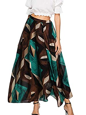 Florboom Women Casual Floral Pleated Boho Maxi Long Skirt