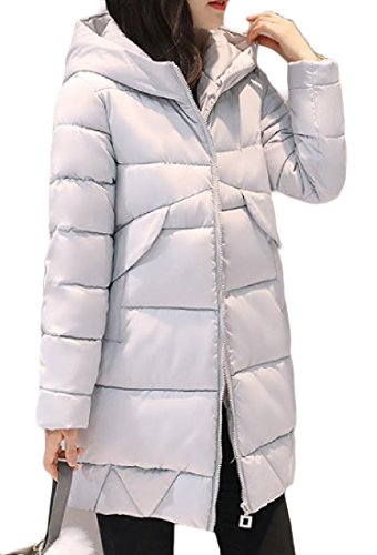 Warm Sezioni Color Pure Cappotti Long Chic Pocket Againg Women Grigio Keeping Down wqxEBEgS