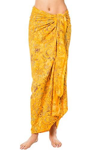 Treasures of Bali Women's Batik Leaf Long Cover Pareo Swim Cover Up Yellow One (Bali Leaves Batik)