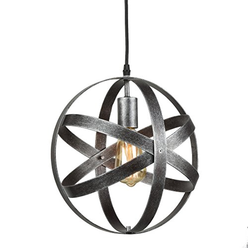 Antique Lighting Hanging - Axiland Industrial Metal Spherical Antique Silver Pendant Displays Changeable Hanging Lighting Fixture