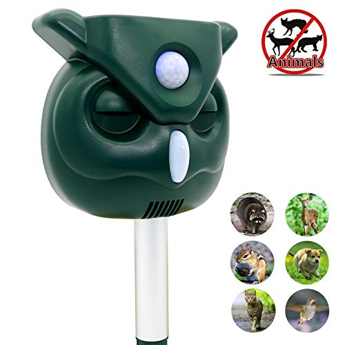 ZOVENCHI Ultrasonic Animal Repeller, Solar Powered Waterproof Outdoor Animal Repeller with Ultrasonic Sound,Activated Motion PIR Sensor and Flashing Light for Cats, Dogs, Squirrels, Moles, Rats ()