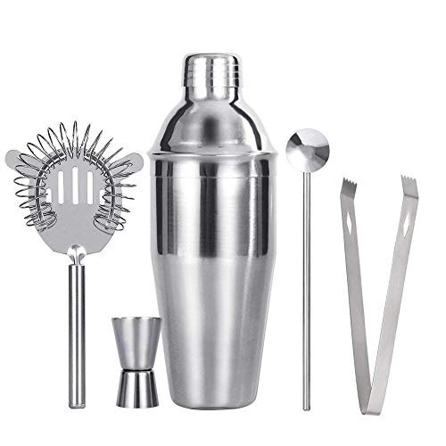 AMoko Cocktail Shaker Bar Set Bartender Kit, 25 oz Stainless Steel Martini Shaker with Built-in Strainer, Double Jigger, Mixing Spoon, Ice Tongs, High Density Strainer