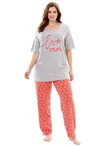Dreams & Co. Women's Plus Size Graphic Tee PJ Set reg; Love (Reg Set)