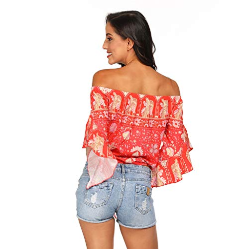 Solare National Allentataelegant Manica Donna Camicia Riou Sleeves Red Party Style Protezione Estate Sexy Blouses Trumpet Plus Cheap Elegante Beach Maglietta Casual Top Size Crop 7awqp