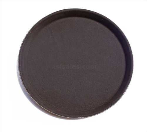 New Star Foodservice 24968 Non-Slip Tray, Plastic, Rubber Lined, Round, 11 inch, Pack of 12, Brown
