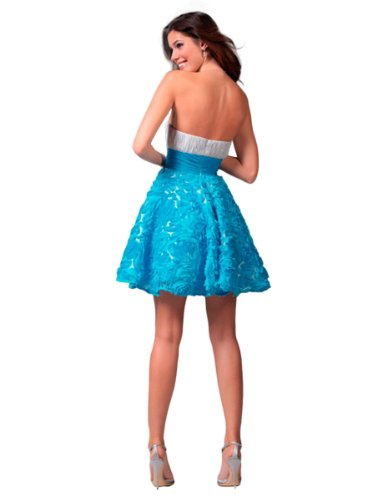 Dress 1537 Floral Clarisse Strapless Ocean Embroidered Blue White Organza Short XpPqBqYf