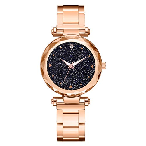 Sodoop Quartz Watches for Women, Luxury Fashion Ladie Quartz Wrist Watch with Steel Belt Star Sky Dial, Casual Simple Dress Watches for Girls -