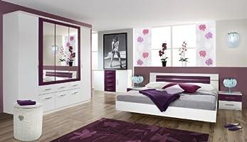 rauch Schlafzimmer Burano, 4-teilig weiß/brombeer weiß/brombeer ...