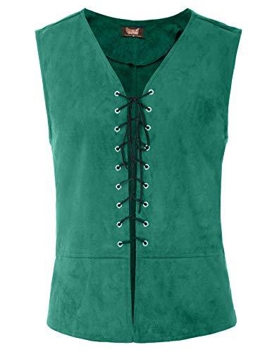 SCARLET DARKNESS Mens Gothic Steampunk Vest Waistcoat Renaissance Vest Tops Green -