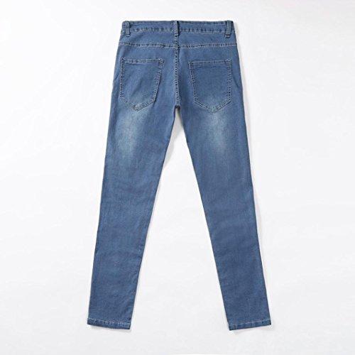 Pitillo Hombres Pantal¨n Originales Rotos Vaqueros Agujero JiaMeng Elasticos Skinny Casuales Personalidad Pantalones Pantalones Jeans Azul EZUCqwFIw