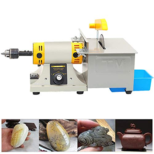 Upgraded Jewelry Polishing Machine,350W Mini Multifunction Rock Polisher Bench, Buffer Bench Lathe Saw Kit for Gem Metal with Grinding Accessories Kit 110V