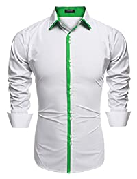 COOFANDY Men's Contrast Color Button Down Dress Shirts Casual Shirts