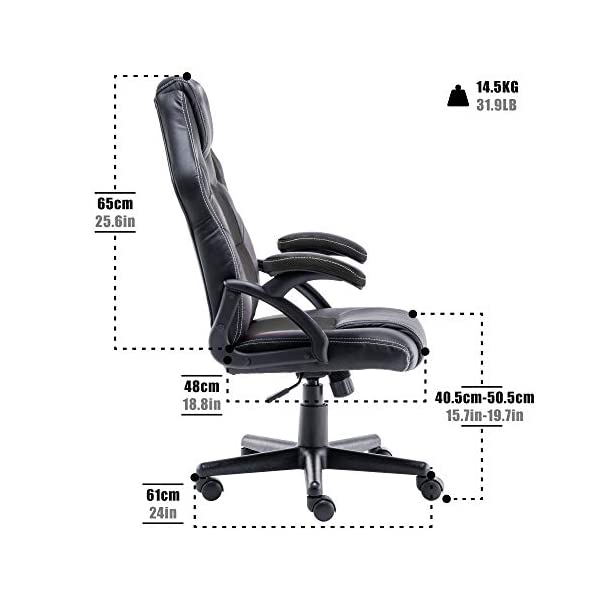 Play haha.Chaise de Jeu Chaise de Bureau Fauteuil pivotant Chaise d'ordinateur Ergonomie Chaise de conférenceSupport Lombaire PU Cuir Chaise de Travail réglable Tige de gaz Test SGS (Noir)