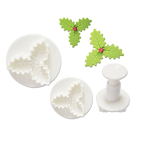 Star-Trade-Inc - Christmas Tools 3Pcs/Set Holly Leaf Cake Cookie Sugarcraft Fondant Decorating Plunger Cutters Mould Bakeware Tools h946