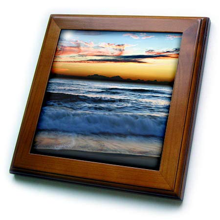 (3dRose Stamp City - landscape - Photograph of a New Jersey beach during a stunning sunrise. - 8x8 Framed Tile (ft_289741_1) )
