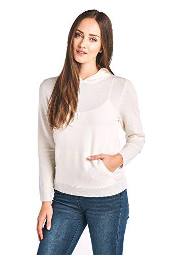 (Mariyaab Women's 100% Cashmere Soft Long Sleeve Hoodie Sweater (201682, Cream, M))