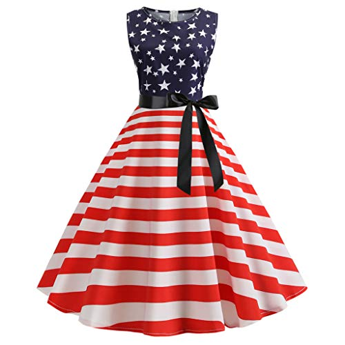 Women Fashion Star Stripe Print Evening Party Prom Swing Sleeve Dress Blue]()