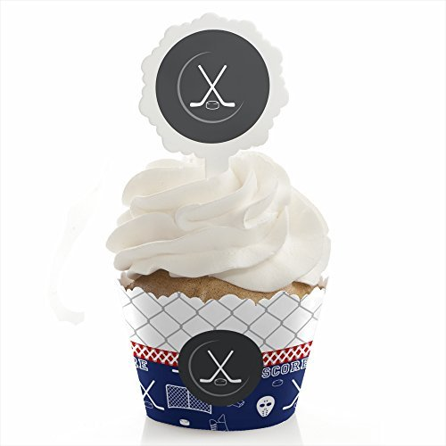 Big Dot of Happiness Shoots & Scores! - Hockey - Baby Shower or Birthday Party Cupcake Wrapper and Pick - Cupcake Decorating Kit - Set of 24 - Candy Dots Paper