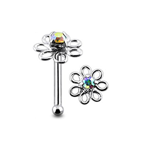 Rainbow Jeweled Filigree Flower Top 22 Gauge - 6MM Length Silver Ball End Nose Stud Nose Piercing