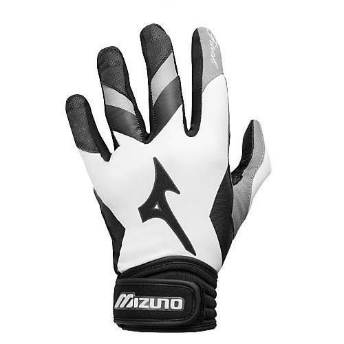 "Women's Medium Black/White Mizuno ""Jenny Finch"" Softball Batting Gloves with Padded ShockPalm"