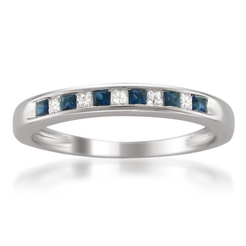 14k White Gold Princess-cut Diamond and Blue Sapphire Wedding Band Ring (1/3 cttw, H-I, I1-I2), Size 4