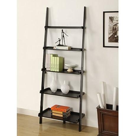 Mintra Black Finish 5 Tier Ladder Book Shelf