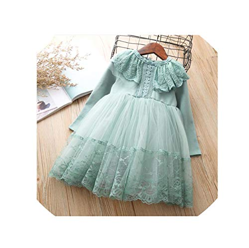 Ivory Elegant Chiffon Collection - Girls Dress Boutique Autumn Christmas Lace Dresses for Kid Girl Clothes 4 7 Years Children Birthday Princess Tutu Costumes Dress,Green,4T