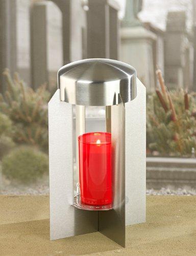 M&M Grablicht aus Edelstahl mit klarem Glaszylinder